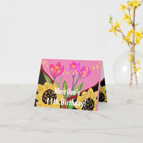 Birthday Bright Pink Bkgnd Sunflower & Tulip Invit Card