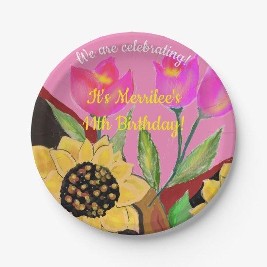 Birthday Bright Pink Paper Plate Sunflower & Tulip