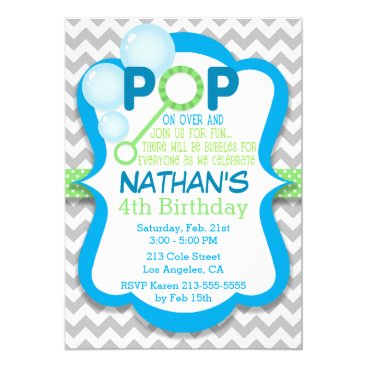 Birthday Bubble Pop Blue & Green Party Invitation