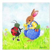 Birthday bunny and bug invitation