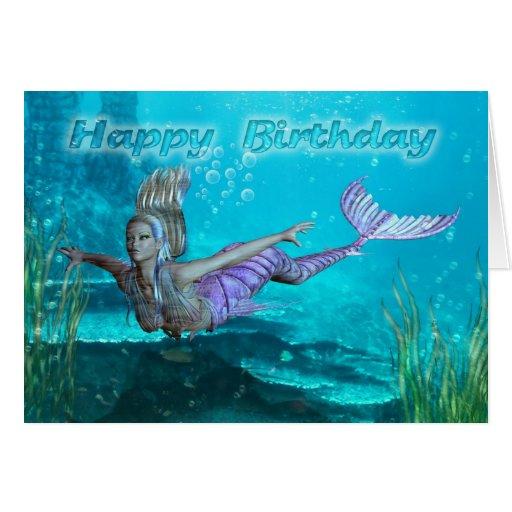 Birthday Card Mermaid Underwater Scenery Zazzle