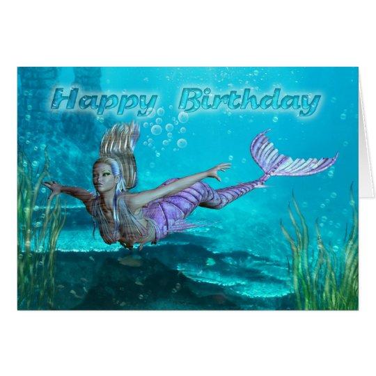 Birthday Card Mermaid Underwater Scenery Zazzle Com