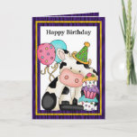 Fun Happy Birthday Cow With Balloons & Cupcake Greeting Card