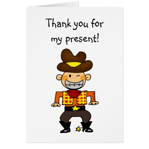 Birthday Cowboy Thank You For My Present Stationery Note