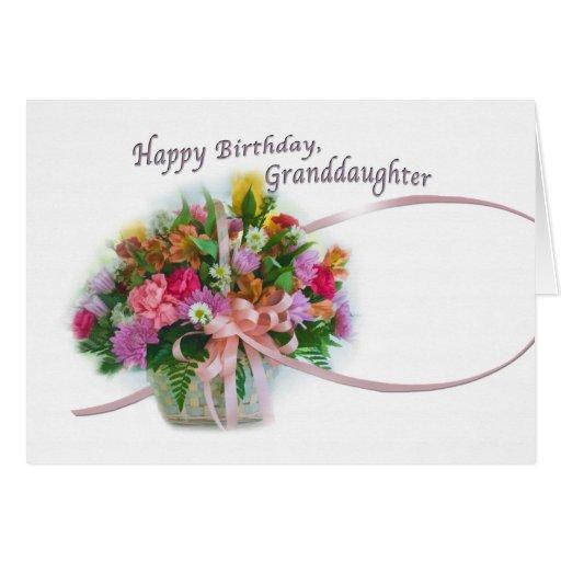 Birthday Granddaughter Flower Basket Card Zazzle
