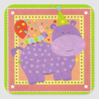 Birthday Hippo Sticker
