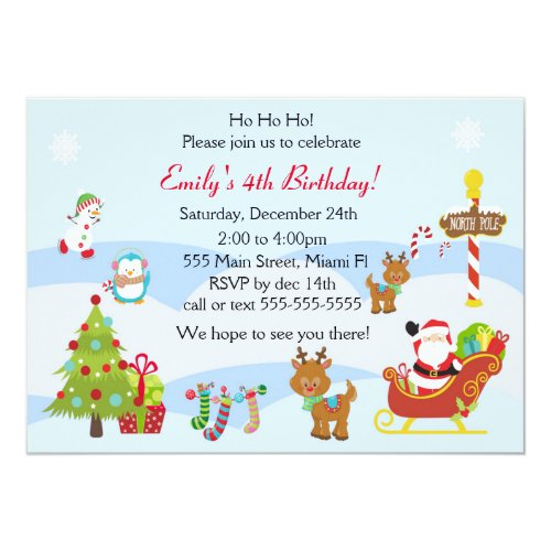 Birthday Invitation Christmas Kids Party