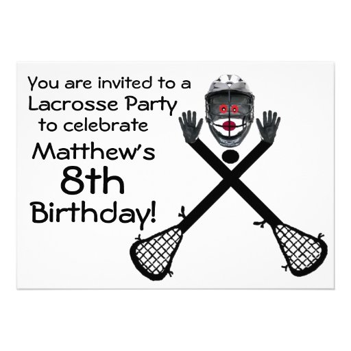 Personalized Lacrosse birthday party Invitations