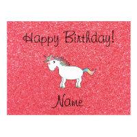 Birthday name unicorn light pink glitter postcard