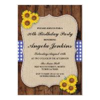 Birthday Party 30th Sunflower Wood Burlap Invite