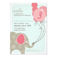 BIRTHDAY PARTY INVITES :: elephant balloons 4P