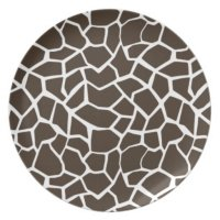 Bistre Brown Giraffe Animal Print Dinner Plate   Zazzle