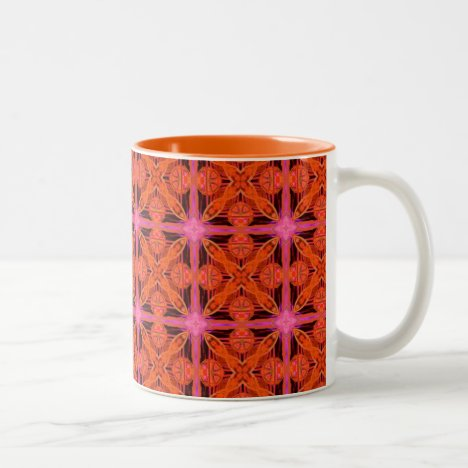 Bittersweet Pink Glowing Moroccan Lattice Two-Tone Coffee Mug