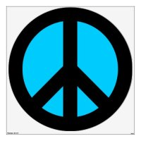 Black and Aqua Peace Sign Wall Sticker | Zazzle