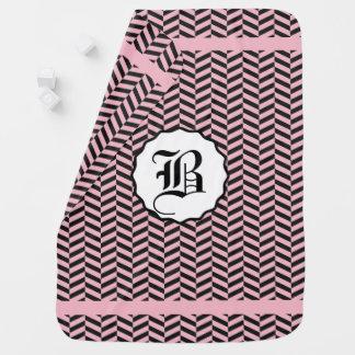 Black and Cupid Pink Monogram Swaddle Blanket
