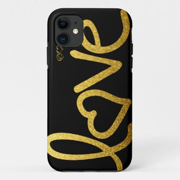 Black and Gold Love iPhone 11 Case