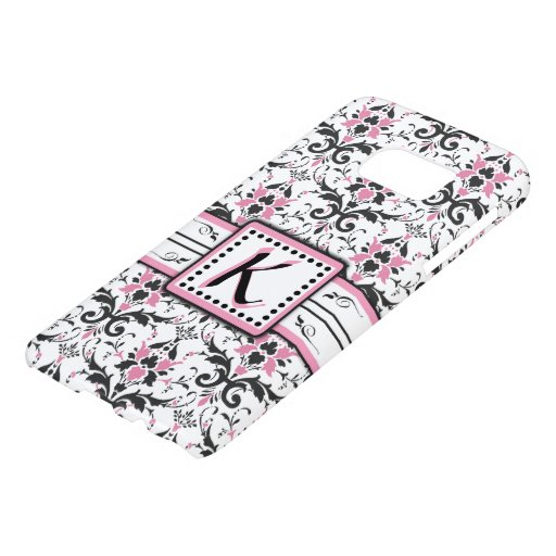 Black and Pink Damask Monogram Samsung Galaxy S7 Case