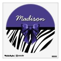 Black and Purple Ribbon Bow Zebra Print Wall Decals   Zazzle