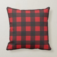 Black and Red Buffalo Check Plaid Throw Pillow