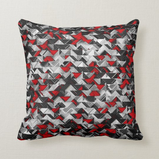 Black and Red Geometric Explosion Throw Pillow  Zazzlecom