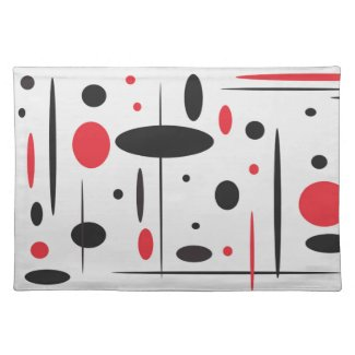 Black and Red Geometric Placemat