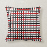 Black and Red Plaid Throw Pillow
