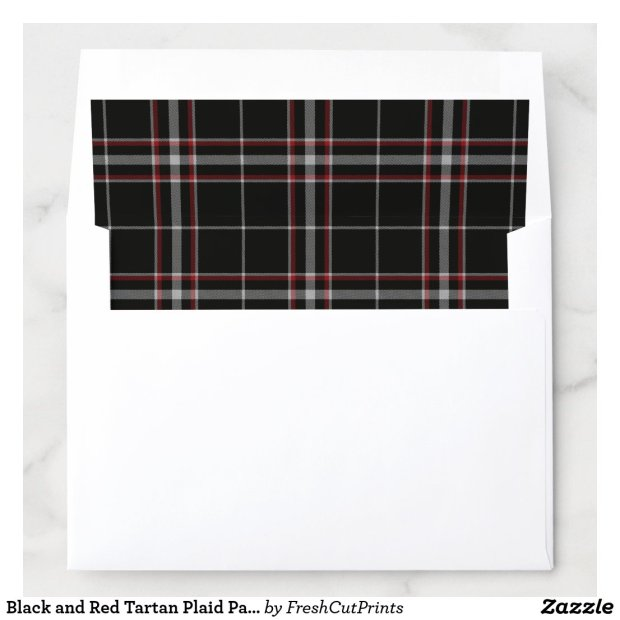 Black and Red Tartan Plaid Pattern Envelope Liner
