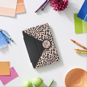 Black and Rose Blush Leopard   Monogram iPad Mini Cover