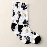 Black and tan canine dog paw print white socks