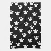 Black and White Animal Paw Print Pattern. Kitchen Towels ...