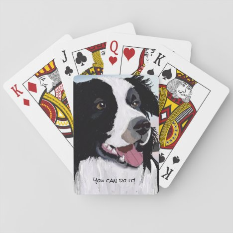 Black and White Border Collie Playing Cards