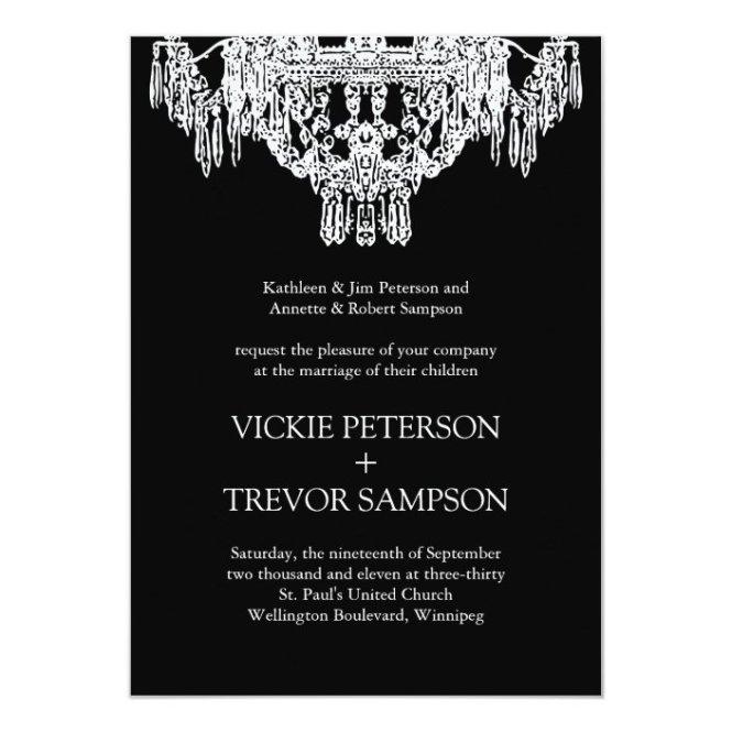 White Chandelier Wedding Invitations