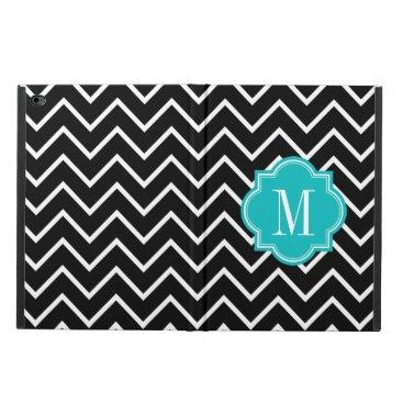 Black and White Chevron with Teal Monogram Powis iPad Air 2 Case