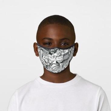 Black and White Comic Pattern Premium Face Mask