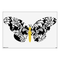 Black and White Damask Butterfly Wall Decal   Zazzle