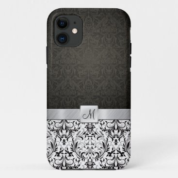 Black and White Damask with Monogram iPhone 11 Case