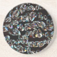Black and White Diamond - Crystal Gems Print Drink Coaster ...