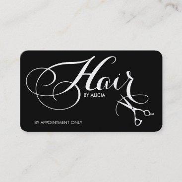 Black and White Elegant Fancy Script Hair Stylist Business Card