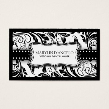 Black and White Floral Damask Wedding Planner Business Card