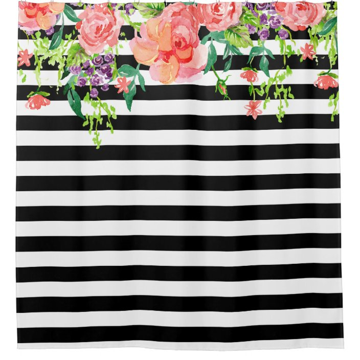 black and white floral roses watercolor art stripe shower curtain zazzle com