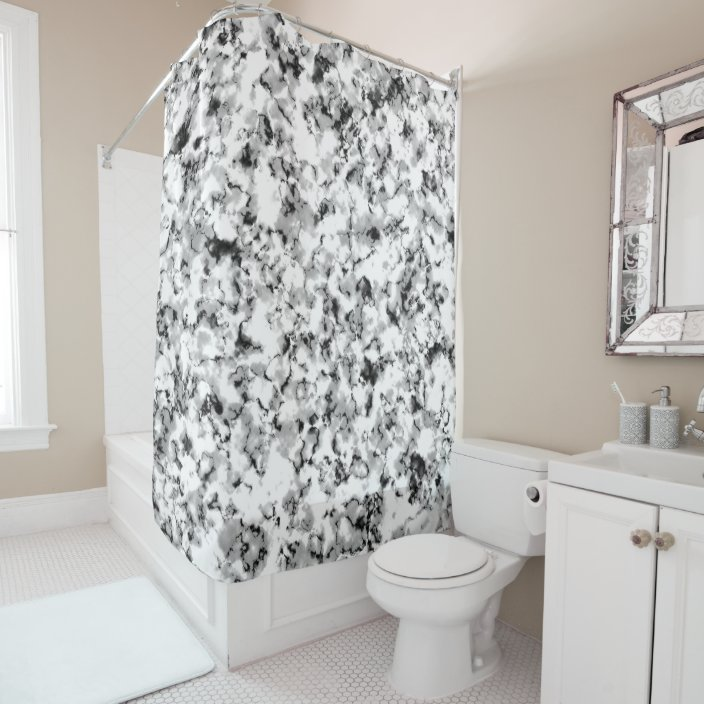 black and white graphic marble pattern contrast shower curtain zazzle com