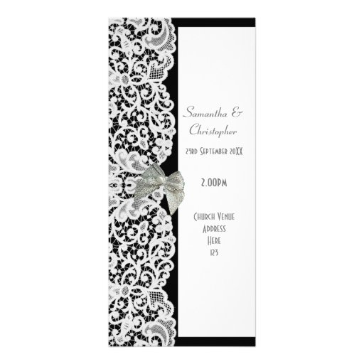 Black and white lace church wedding program rack cards