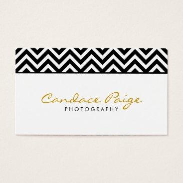 Black and White Modern Chevron Stripes Business Card