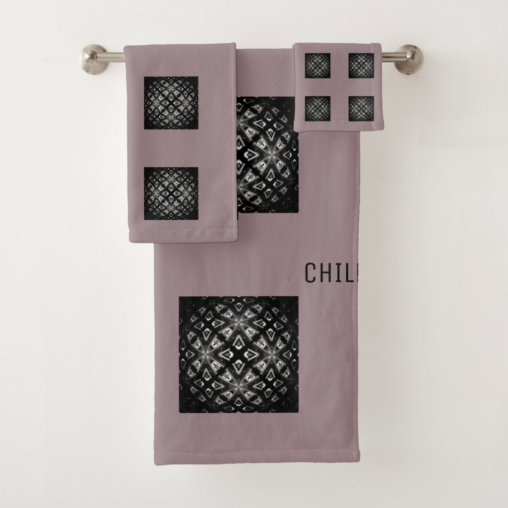 Black and White Pattern Chill With Cushionarium Bath Towel Set