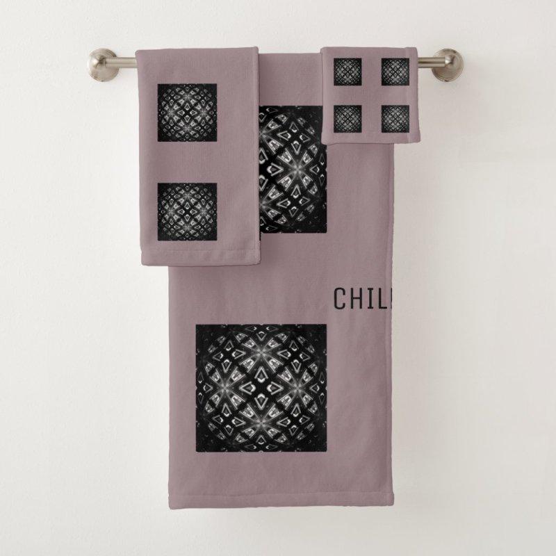 Black and White Pattern Chill With Cushionarium Bath Towel Set