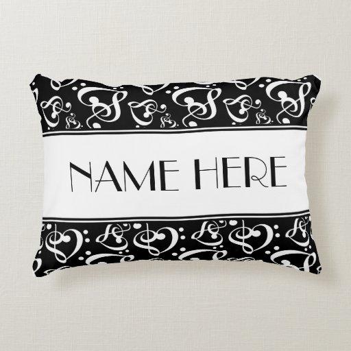 Black And White Pattern Music Theme Decorative Pillow