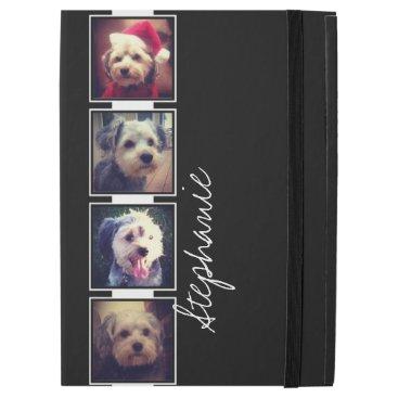 "Black and White Photo Collage Squares custom name iPad Pro 12.9"" Case"
