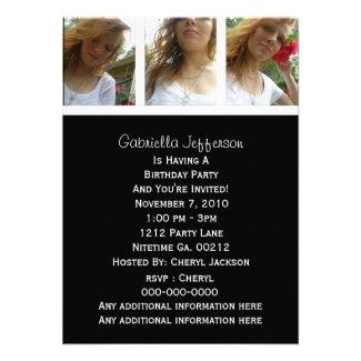 Black And White: Picture Party Invitation