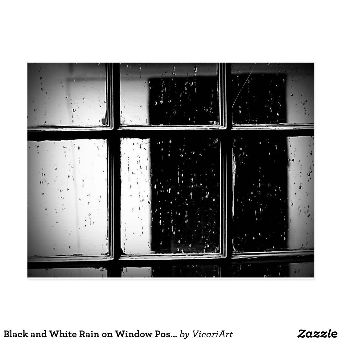 Black and White Rain on Window Postcard