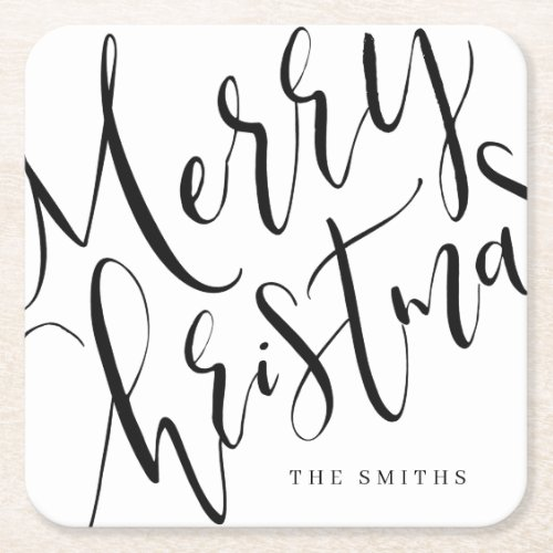 Black And White Simple Calligraphy Merry Christmas Square Paper Coaster